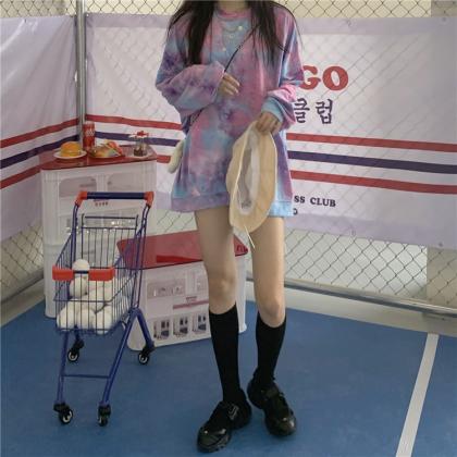 VIRENE Korean Fashion Tie Dye Long Sleeve Shirt Women Sweater Crew Neck Casual Woman Top Female Non-hooded Shirt Baju Viral Ready Stock 261500