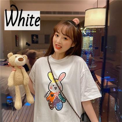 VIRENE Korean Fashion Women T-Shirt Casual Woman Blouse Chic Graffiti Rabbit Shirt Short Sleeve Female Top Basic Tee Baju Viral Murah Ready Stock 211311