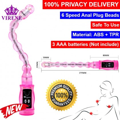 6 Speed Jelly Vibrating Anal Beads Butt Plug Arbitrary Angle Pliable G-Spot Anal Dildo Vibrator Adult Sex Toys Prostate Massager 百乐6段变频震动超级变形 任意扭转 软胶拉珠 后庭G点棒 Ready Stock 401840ST