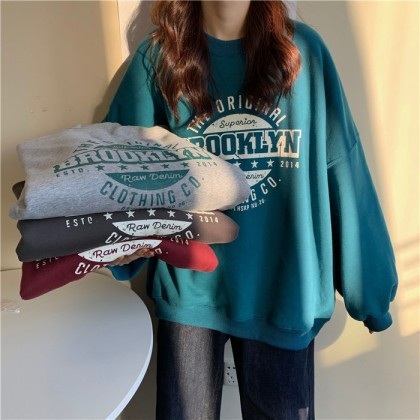 Korean Fashion Premium Quality Women Sweater Brooklyn Design Long Sleeve Non-hooded Shirt Casual Woman Blouse Baju Viral Lengan Panjang Ready Stock 213388