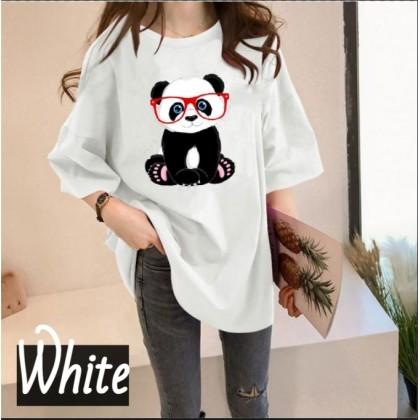 Korean Fashion Panda Printing Women Short Sleeve T-Shirt Woman Loose Top 2021 Summer Cute Shirt Lovely Basic Outfit Tee Ready Stock 216680