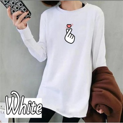 Hot Korean Fashion Women Long Sleeve Shirt Heart Design Cloth 2021 Summer Lovely Blouse Casual Top Basic Outfit Tee Baju Viral Lengan Panjang Ready Stock 220002