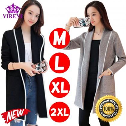 Korean Fashion Women Cardigan Casual Long Sleeve Outerwear Plain Lady Coat Comfy Woman Non-hooded Jacket Kot Viral Wanita Ready Stock 322600