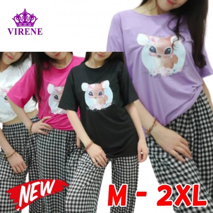 Korean Fashion Deer Printing Women Short Sleeve Shirt Casual Top Loose T-Shirt 2021 Summer Outfit Cute Blouse Lovely Basic Tee Baju Viral Murah Ready Stock 211180