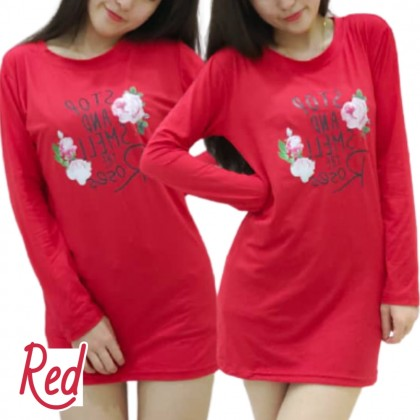 Korean Fashion Women Long Sleeve Shirt Rose Design Cloth 2021 Summer Lovely Blouse Casual Top Basic Outfit Tee Baju Viral Lengan Panjang Ready Stock 228802