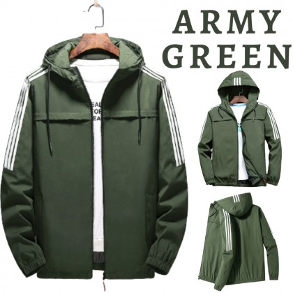 Korean Fashion Men Bomber Jacket Waterproof Slim Fit Hooded Jacket Windproof Outdoor Coat Jacket Jaket Viral Lelaki Ready Stock 531196