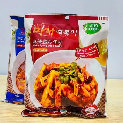 Happy Home Vegetarian Kimchi / Mala Paste Fried Rice Cake (225g) Ready Stock 全素食泡菜酱/麻辣酱炒年糕