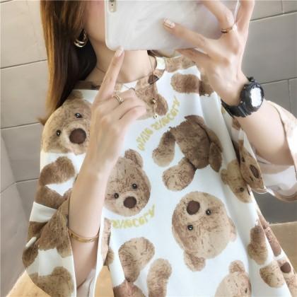 Korean Fashion Women T-Shirt Bear Design Top Woman Casual Short Sleeve Shirt Loose Blouse 2021 Summer Outift Basic Tee Baju Viral Murah Ready Stock 219130