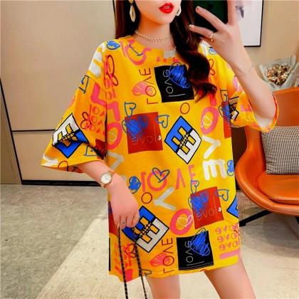 Korean Fashion Women T-Shirt Casual Top Short Sleeve Shirt 2021 Summer Blouse Basic Outfit Baju Viral Murah Ready Stock 212242