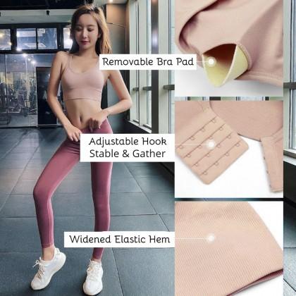 Yoga Bra Shockproof Row Buckle Back Adjustable Running Fitness Bra Anti Sagging Cross Beautiful Back Sport Bra 瑜伽内衣 运动内衣 Ready Stock 112229