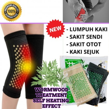 Wormwood Treatment Self heating Knee Protector Pad Pain Relief Support Massage Sakit Kaki Ubat Orang Tua Tongkat Pelapik lutut hangat 艾草保暖护膝腿套 ready stock 200074