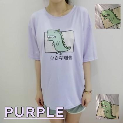 Korean Fashion Women T-Shirt Dinosaur Loose Top Plus Size Short Sleeve Shirt Casual Summer Outfit Basic Tee Baju Viral Murah Ready Stock  211142