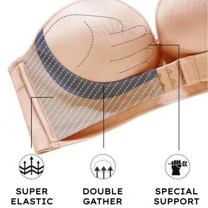 Women Super Push Up Bra Strapless Bra Seamless Brassiere Front Closure Lingerie Non-Slip Bras 防滑无肩带内衣 无痕舒适内搭 Ready Stock 213374