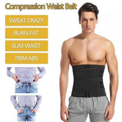 Men Slimming Shaper Body Sculpting Sauna Belt Neoprene Waist Cincher Compression Fat Burning Trimmer Belt Fitness Body Trainer Shapewear Ready Stock 218886