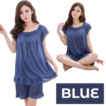 Korean Style Women Sleepwear 1 Set (Top + Pants) Simple Pyjamas Elegant Lingerie Comfortable Nightwear Woman Skin-friendly Pajamas Ready Stock 211176
