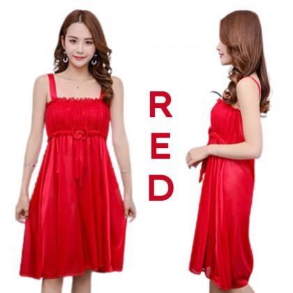Korean Fashion Women Nightdress Simple Sleepwear Elegant Lingerie Comfortable Nightwear Woman Skin-Friendly Nightgown Ready Stock 218866