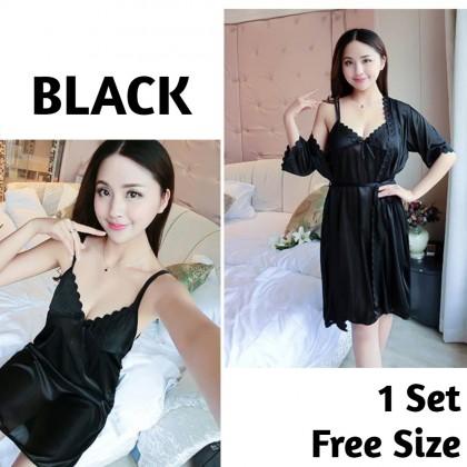 Women Sleepdress Satin Nightdress Set (Outer Cloth + Dress) Female Nightgown Comfortable Nightwear Sleeveless Sleepwear Ready Stock 211886