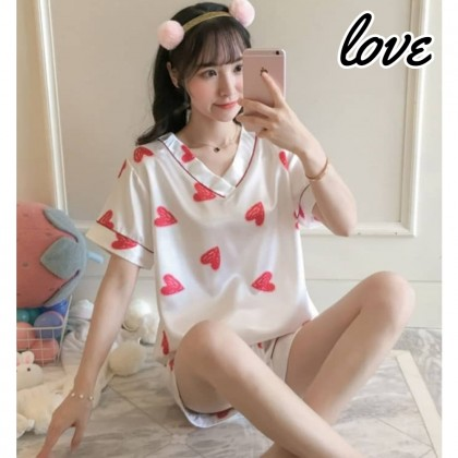 Korean Fashion Women Pyjamas Set Short Sleeve Sleepwear V-Neck Nightwear Female Pajamas Silk Satin Lingerie Baju Tidur 女士可爱睡衣套装 Ready Stock 320100