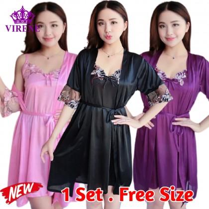 Women Sexy Lingerie Nightdress Set Female Nightwear Sleepwear Silk Satin Nightgown Sleepdress Sleeveless Lingerie Skirt Tidur 女士性感睡衣 Ready Stock 322222