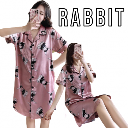 Korean Fashion Cute Nightdress Women Sleepdress Short Sleeve Nightwear Satin Sleepwear Female Nightgown 韩版可爱睡裙 Skirt Tidur Wanita Ready Stock 426660