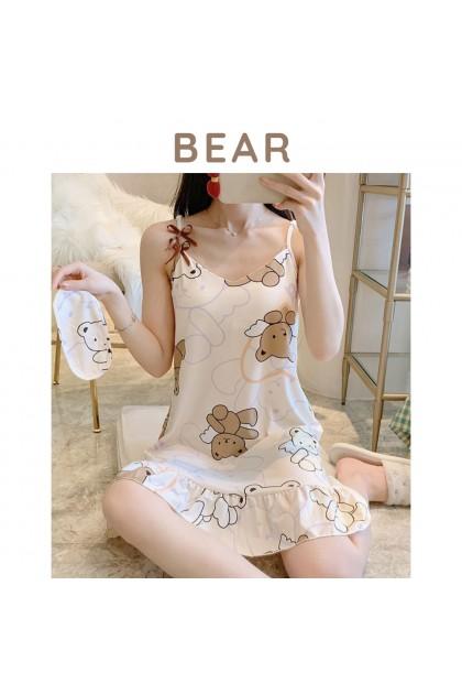 Women Sleepdress Korean Style Nightdress Cute Nightgown Comfy Female Sleepwear Soft Nightwear 韩版女士可爱连体睡裙 Skirt Tidur Wanita Ready Stock 217776