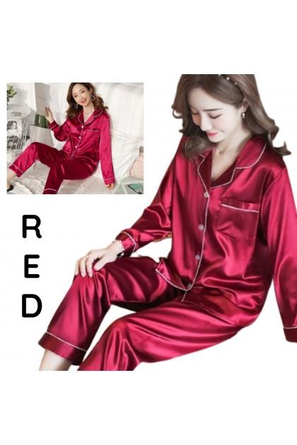 Women Long Sleeve Sleepwear Set SIlk Satin Pajamas Soft Nightwear Comfy Pyjamas Baju Tidur Wanita 韩版女士长袖睡衣套装 Ready Stock 429990