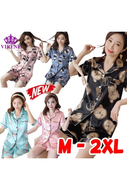 Women Sleepwear 2 Pcs Set Short Sleeve Top + Short Pant Nightwear Pyjamas Cartoon Design Baju Tidur Wanita 韩版女士短袖短裤睡衣套装卡通 Ready Stock 320068