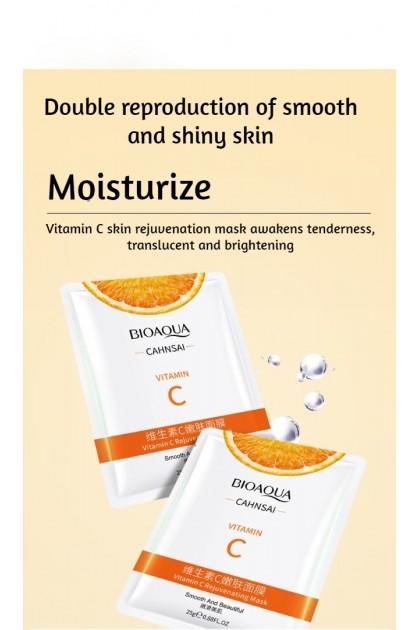 100% Original Bioaqua Vitamin C Skin Rejuvenation Mask Moisture Delicate Mild Sheet Mask Skincare 泊泉雅维他命C嫩肤面膜 Ready Stock 66690BA
