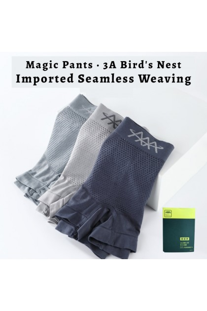 Plus Size Magnetic Therapy Men Boxer 3 Pcs Per Box Man Underwear (40kg - 90kg) Premium Quality 3A Bird' Nest Seamless Male Brief Seluar Dalam Lelaki 高品质5D磁疗魔磁裤 Ready Stock 110018