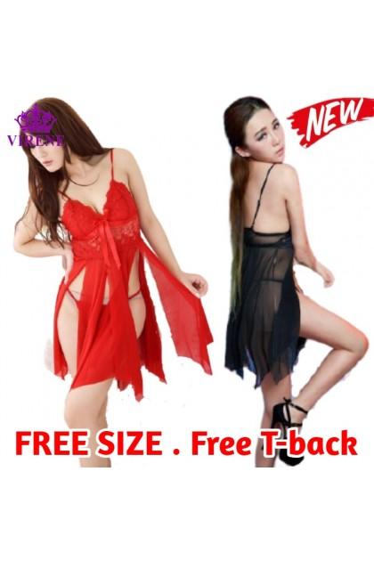 Korean Fashion Women Sexy Lingerie (FREE T-back) Nightdress Sleepwear Nightwear Soft Baju Tidur Wanita 韩版女式性感睡衣 连体裙 Ready Stock 376