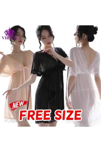 Women Sexy Lingerie Sexy Sleepwear Nightwear Nightdress Soft Korean Fashion Baju Tidur Wanita 女式性感睡衣情趣睡衣 连体裙 Ready Stock 609