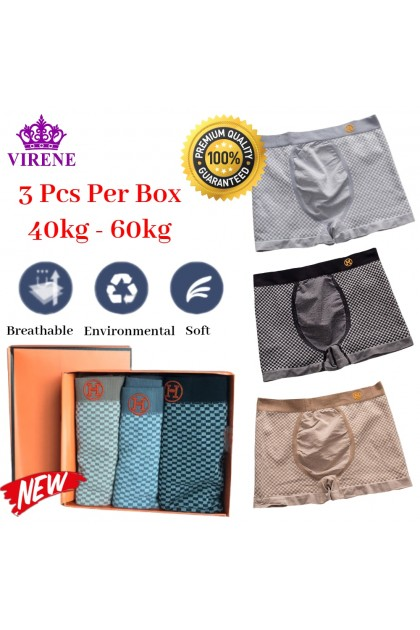 TikTok Premium Quality Men Boxer 3 Pcs Per Box Famous Trend Elegant Man Underwear (40kg - 60kg) Breathable Comfy Soft Male Brief Seluar Dalam Lelaki 抖音爆款 高品质大牌潮流男士内裤 Ready Stock 219986