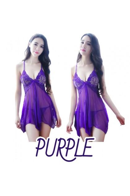 Women Sexy Lingerie ( Free T-Back) Nightwear Pajamas Women Sleepwear Nightdress Baju Tidur Wanita 女士性感睡衣 情趣睡衣 现货 Ready Stock 323