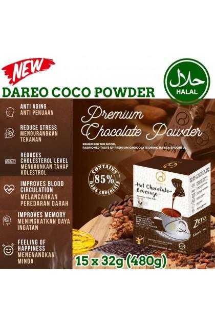 Dareo Hot Chocolate Beverage 0% TransFat Dark Coco Drinks Breakfast Instant Powder, Serbuk Coklat Premium Minuman Sarapan Pagi Rendah Kalori , 黑巧克力速溶饮料 低卡路里早餐(15packs x 32g)ReadyStock 9555666601180