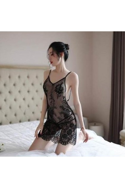 Women Sexy Nightdress (Free Panties) Sexy Lingerie Nightwear Sexy Pajamas Baju Tidur Wanita 女士情趣睡衣 性感睡裙 Ready Stock 593