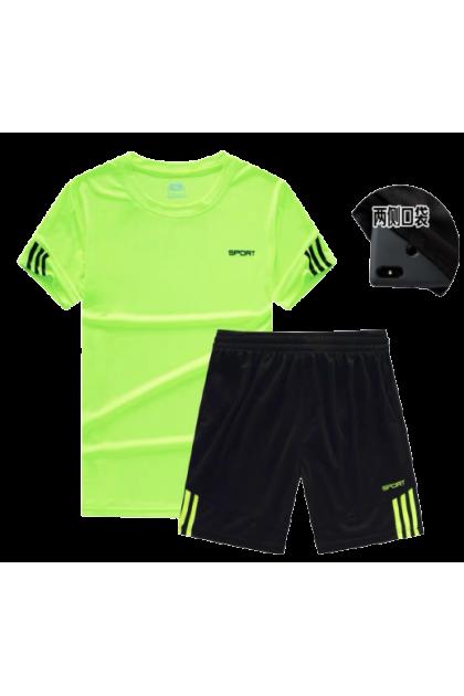 Men Sportswear T-Shirt + Short Pants Set Sports Shirt & Pants Set Men Fitness Clothing Baju Lelaki Ready Stock 111111