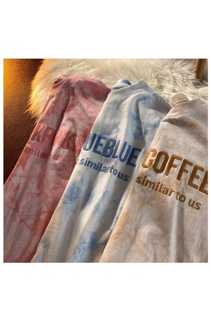 Korean Fashion Women Tie Dye Shirt Letter Design Short Sleeve Top Blouse Baju Murah Viral Casual 扎染字母上衣 Ready Stock 210042