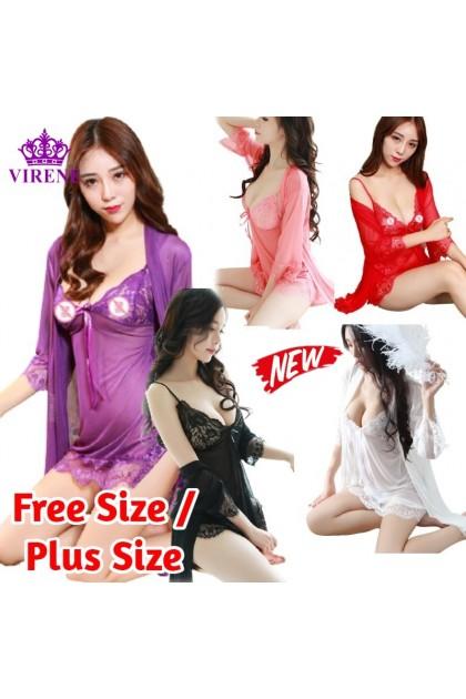 Women Sexy Lingerie (Free T-Back) Dress + Outwear Sexy Sleepwear Sexy Pajamas Nightwear Baju Tidur Wanita 性感情趣睡衣 Ready Stock 040