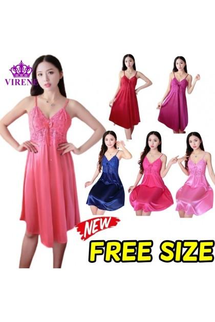 Women Sleepdress Nightdress Ice Silk Nightgown Comfortable Nightwear Sleeveless Sleepwear Baju Tidur Wanita 女式睡裙 Ready Stock 222229