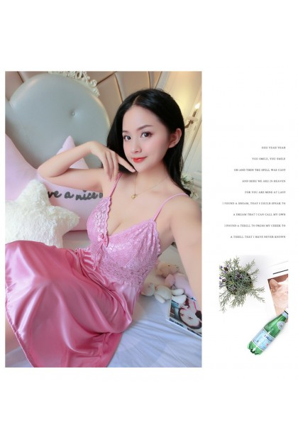 Women Sleepdress Nightdress Ice Silk Nightgown Comfortable Nightwear Sleeveless Sleepwear Baju Tidur Wanita Ready Stock 221129