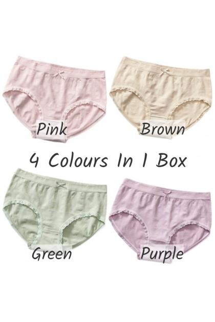 Health Nurse Women Panties【4 Pcs Per Box】Graphene Crotch Antibacterial Panties Seluar Dalam Wanita 石墨烯抑菌底裤 Ready Stock 214444