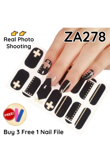 DIY Nail Stickers Waterproof【Buy 3 Free 1 Nail File】Exquisite Fingernails & Toenails Sticker Non-Toxic Manicure Stickers Ready Stock