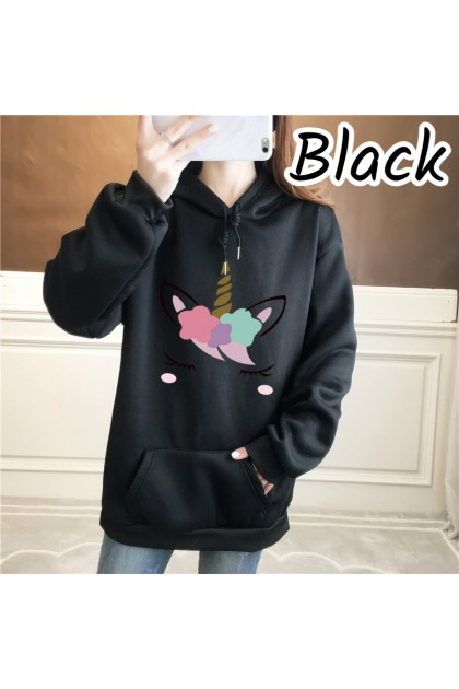 Women Unicorn Hoodies Long Sleeve Shirt Top Hooded Shirt Loose Jacket Couple Wear Baju Viral Wanita Ready Stock 328822