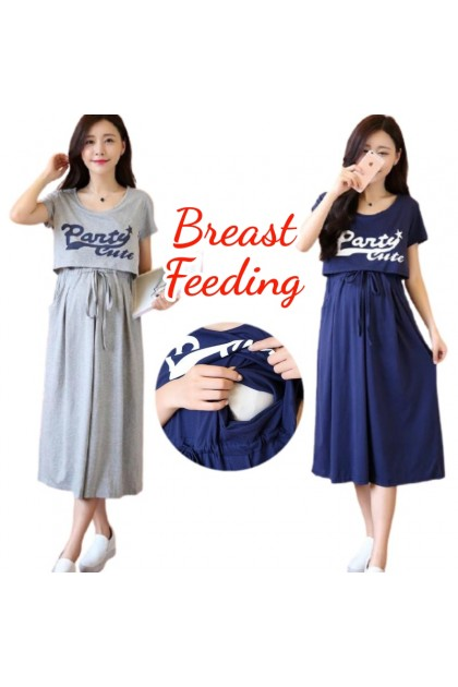 Korean Fashion Maternity Dress Nursing Breastfeeding Pregnant Dresses Short Sleeve Baju Ibu Mengandung Menyusu 孕妇裙 哺乳裙 Ready Stock 544002