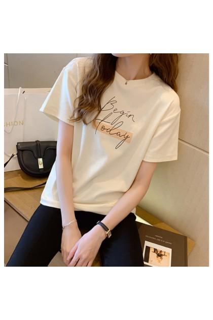 Korean Fashion Women T-Shirt Begin Print Short Sleeve Shirt Casual Top Summer Blouse Baju Lengan Pendek Baju Viral Murah Ready Stock 216640