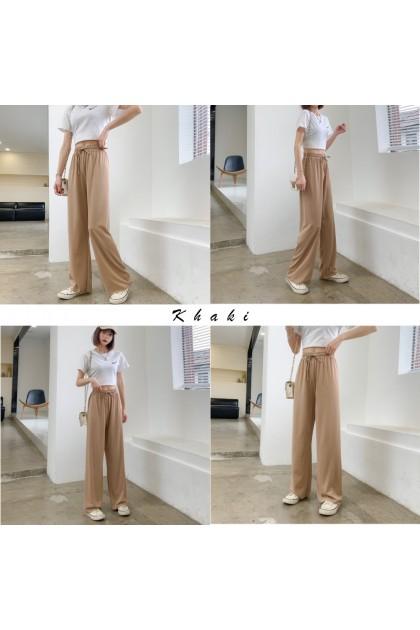 Women Muslimah Palazzo Pants High Waist Elastic Trousers Wide Leg Bottom Casual Loose Pant Ready Stock 911119