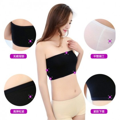 VIRENE Women Tube Free Size Breathable Wireless Strapless Elastic Tube Top (Non-Padded) Ready Stock 000026