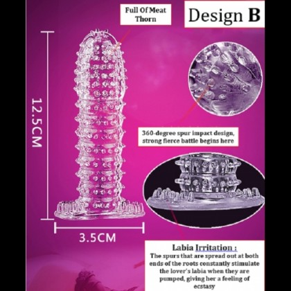 Condom【5 Design Perpack】 Silicone Crystal Condom Reusable Elastic Condom Sex Toys [ 100% Privacy Delivery] Ready Stock 011114
